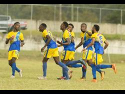 Shemar Nairne (third left) celebrates his goal against UWI FC with Harbour View teammates in their Red Stripe Premier League match at the UWI Mona Bowl in St Andrew on Wednesday, January 9, 2019.