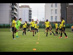Jamaica's Reggae Girlz during a training session at the FIFA Women's World Cup at Stade Eugene Thenard in Grenoble, France on Monday, June 17, 2019.