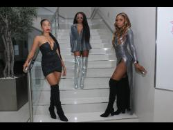 Kevanna Ricketts (centre) shows off her sense of style while chilling with friends, who she styled, Rohayni Bent (left) and Jaset Thompson.