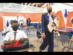 Minister of Education Fayval Williams visited the Dunoon Park Technical High School in Kingston to observe operations following the resumption of face-to-face classes in May.
