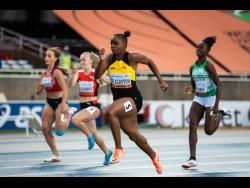 © Dan Vernon for World Athletics Jamaica's Tina Clayton (second right) powering to victory in the women's 100 metres final at the World Under-20 Championships in Nairobi, Kenya yesterday. Clayton won in a personal best 11.09 seconds.  Zimbabwe's Beatrice Masilingi (not in photo) was second in 11.39 and Switzerland's Melissa Gutschmidt (second left), third in 11.51.