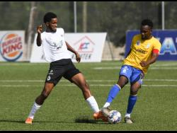 Harbour View's Ajeanie Talbott (right) in action in the Jamaica Premier League on July 5 at the UWI-JFF Captain Horace Burrell Centre of Excellence. At left is Shaniel Thomas of Cavalier.